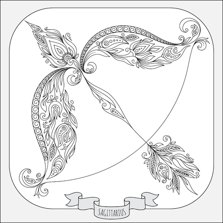 Pattern for coloring book. Hand drawn line flowers art of zodiac Sagittarius. Horoscope symbol for your use. For tattoo art, coloring books set.