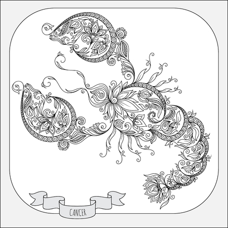 cancer zodiac: Pattern for coloring book. Hand drawn line flowers art of zodiac Cancer. Horoscope symbol for your use. For tattoo art, coloring books set.   Illustration