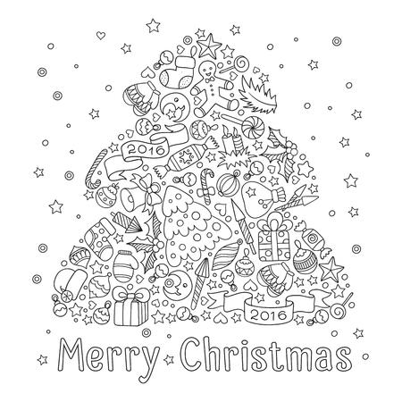 Patroon voor kleurboek. Kerstmis de hand getekende decoratieve elementen in vector. Kerst boom van Kerst decoratieve elementen.