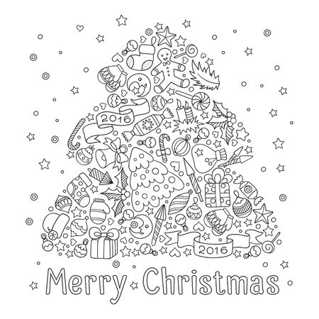 Pattern for coloring book. Christmas hand-drawn decorative elements in vector. Christmas tree from Christmas decorative elements.