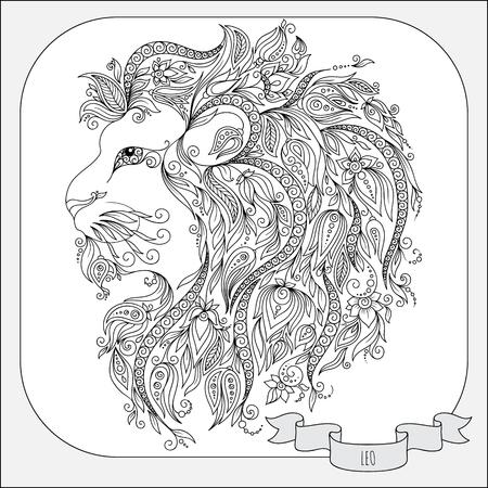 signes du zodiaque: Motif pour le livre de coloriage. Tir� par la main de fleurs en ligne art de Leo zodiac. Symbole de horoscope pour votre usage. Pour l'art du tatouage, livres � colorier fix�s.