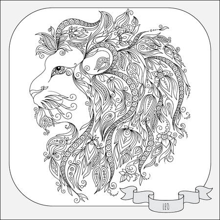 zodiacal symbol: Pattern for coloring book. Hand drawn line flowers art of zodiac Leo. Horoscope symbol for your use. For tattoo art, coloring books set.