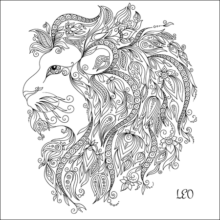 Zodiac sign - Leo. Hand drawn doodle scorpion with elements of the ornament in ethnic style, of lace flowers, tendrils and leaves . Vector illustration, Isolated on white.
