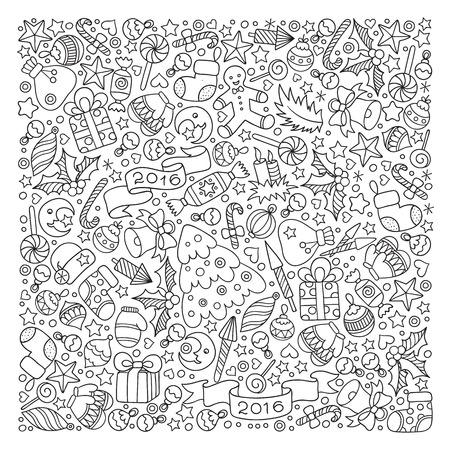 color pages: Pattern for coloring book. Christmas hand-drawn decorative elements in vector. Fancy Christmas balls, stars. Black and white pattern