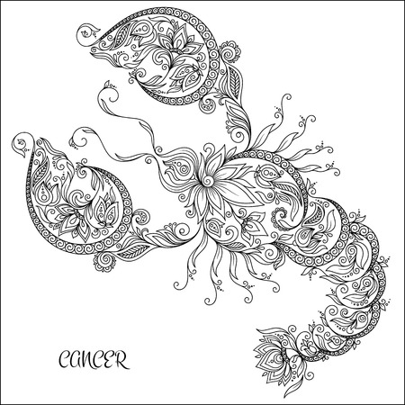 color pages: Pattern for coloring book. Hand drawn line flowers art of zodiac Cancer. Horoscope symbol for your use. For tattoo art, coloring books set.  Illustration