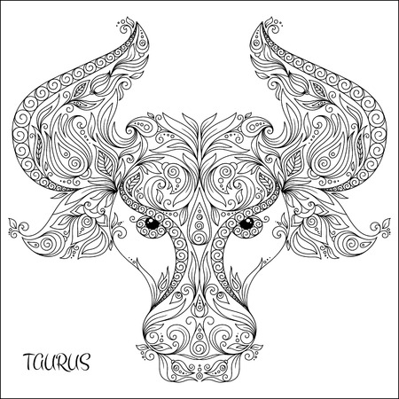 zodiacal symbol: Pattern for coloring book. Hand drawn line flowers art of zodiac Taurus. Horoscope symbol for your use. For tattoo art, coloring books set.  Illustration