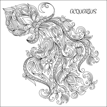calendar page: Pattern for coloring book. Hand drawn line flowers art of zodiac Aquarius. Horoscope symbol for your use. For tattoo art, coloring books set.