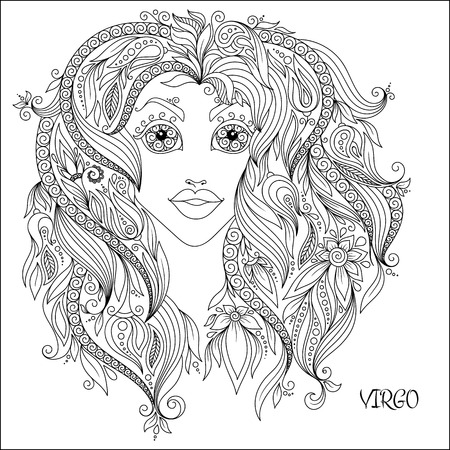 horoscopes: Pattern for coloring book. Hand drawn line flowers art of zodiac Virgo. Horoscope symbol for your use. For tattoo art, coloring books set.
