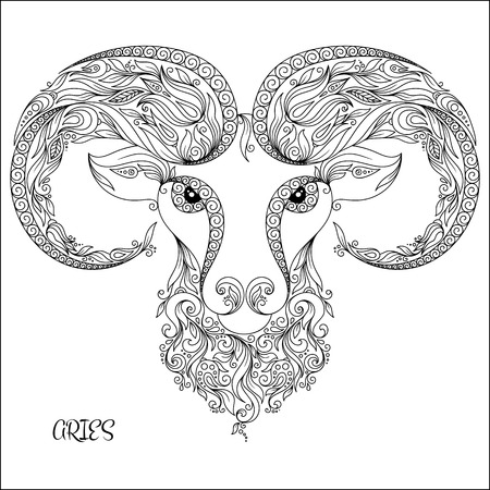 zodiacal symbol: Pattern for coloring book. Hand drawn line flowers art of zodiac Aries. Horoscope symbol for your use. For tattoo art, coloring books set.