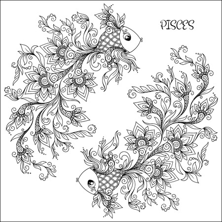 color image: Pattern for coloring book. Hand drawn line flowers art of zodiac Pisces. Horoscope symbol for your use. For tattoo art, coloring books set.   Illustration