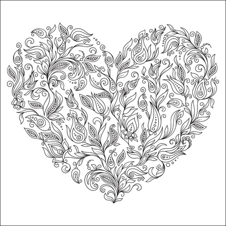 flower heart: Coloring page flower heart St Valentines day greeting card hand made print digital art. Coloring page with details isolated on white background .   Illustration