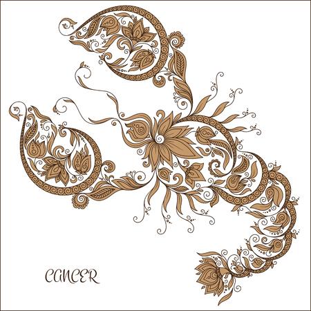 signes du zodiaque: Motif pour le livre de coloriage. Tiré par la main de fleurs en ligne art de cancer zodiaque. Symbole de horoscope pour votre usage. Pour l'art du tatouage, livres à colorier fixés.