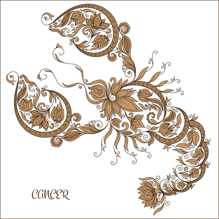 horoscopes: Pattern for coloring book. Hand drawn line flowers art of zodiac Cancer. Horoscope symbol for your use. For tattoo art, coloring books set.   Illustration