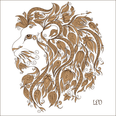 tendrils: Zodiac sign - Leo. Hand drawn doodle scorpion with elements of the ornament in ethnic style, of lace flowers, tendrils and leaves . Vector illustration, Isolated on white.