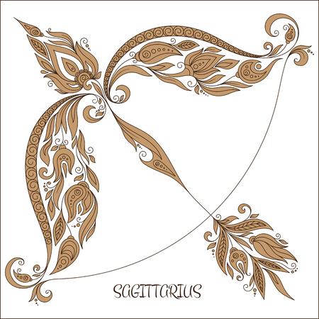 sagitario: Patrón de libro para colorear. Dé las flores línea arte de zodiaco Sagitario. símbolo del horóscopo para su uso. Para el arte del tatuaje, establecen libros para colorear.