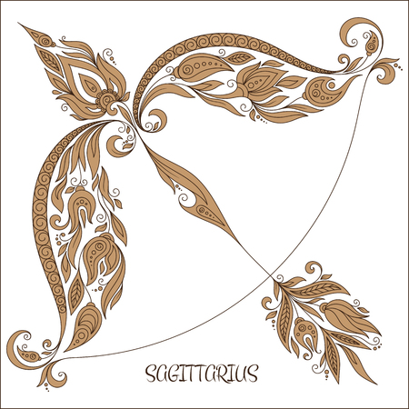 zodiacal sign: Pattern for coloring book. Hand drawn line flowers art of zodiac Sagittarius. Horoscope symbol for your use. For tattoo art, coloring books set.