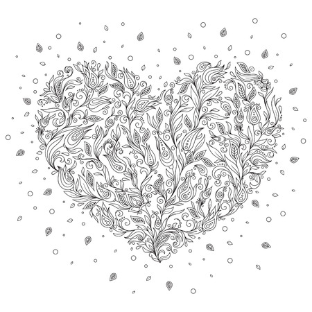 paper art projects: Coloring page flower heart St Valentines day greeting card hand made print digital art. Coloring page with details isolated on white background . Doodle zentangle pattern for relax and meditation.