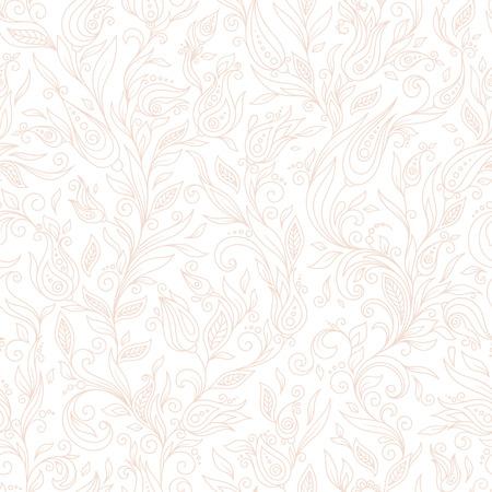 tile background: Henna Mehndi Tattoo Flowers Doodles Seamless Pattern. Paisley Flowers Illustration Design Elements