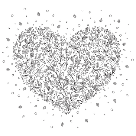 flower heart: Coloring page flower heart St Valentines day greeting card hand made print digital art.