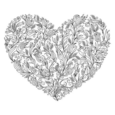 Coloring page flower heart St Valentine's day greeting card hand made print digital art. Coloring page with details isolated on white background . Doodle zentangle pattern for relax and meditation.
