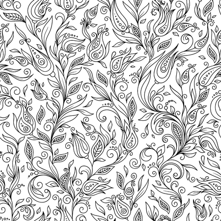 Pattern for coloring book. Ethnic, floral, retro, doodle, vector, tribal design element. Black and white background. Doodle vector background. Henna paisley mehndi doodles design tribal design element Illustration