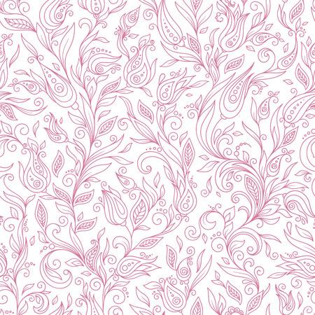 Henna Mehndi Tattoo Flowers Doodles Seamless Pattern. Paisley Flowers Illustration Design Elements