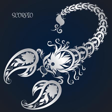 Escorpión. La astrología signo del zodíaco. zodiaco del vector. Mano dibuja estilo. Vectores