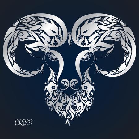 aries: Aries. La astrolog�a signo del zod�aco. zodiaco del vector. Mano dibuja estilo.