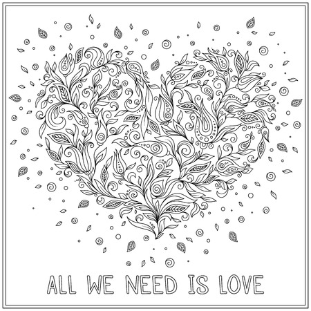 st  valentine's: Coloring page flower heart St Valentines day.