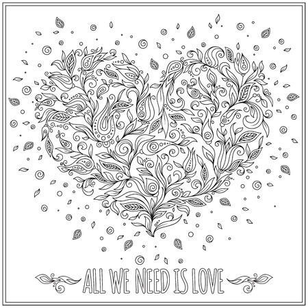 Coloring page flower heart St Valentine's day.