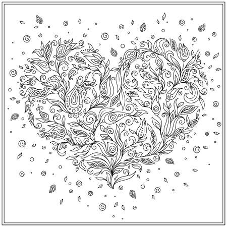 Dekoratives Liebes-Herz Mit Blumen. Valentinstag-Karte. Malbuch Für ...
