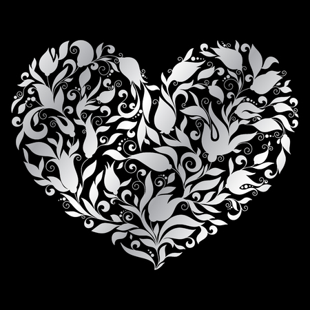 corazones: Floral heart on black background Illustration