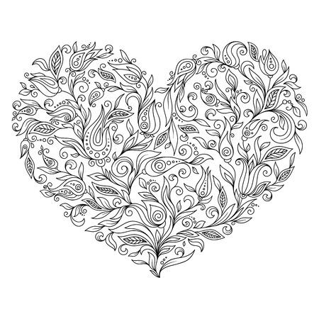 컬러링 페이지 꽃 마음 세인트 발렌타인입니다. 흰색 배경에 고립 된 세부 사항 가진 페이지를 색칠합니다. 긴장과 명상을위한 낙서 zentangle 패턴. 흰색 배경에 검은 라인 아트입니다.