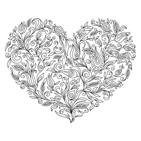 Coloring Page Flower Heart St Valentines Day Vector