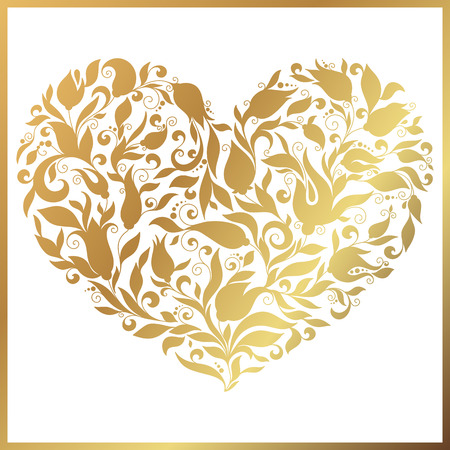 gold heart: Greeting gold heart elements for design. Vector illustration. Bright illustration, can be used as greeting card, invitations for wedding, birthday, valentines day .Paisley Doodle Flowers Design.
