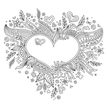 Heart Shaped Pattern For Coloring Book Floral Retro Doodle