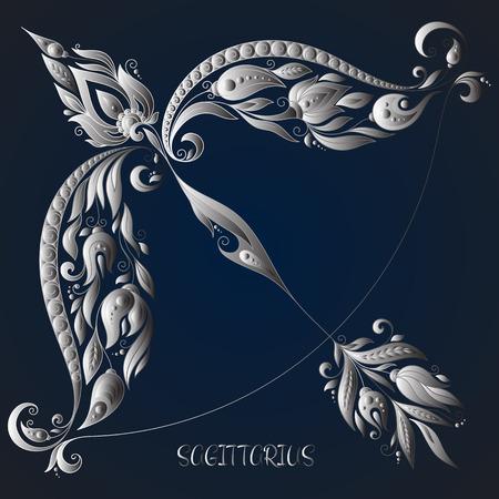 cosmos flower: Sagittarius . Astrology Zodiac sign. Vector zodiac. Hand drawn style. Illustration