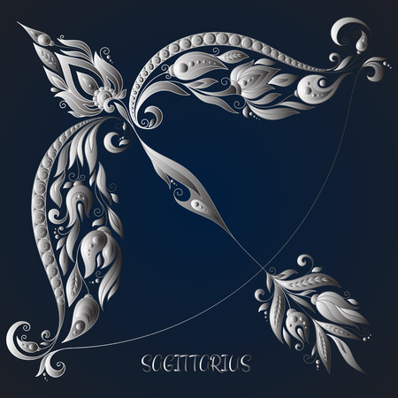 Sagittarius . Astrology Zodiac sign. Vector zodiac. Hand drawn style. Çizim
