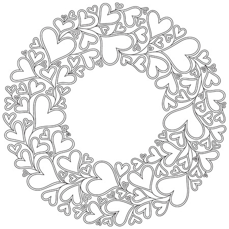 Pattern with hand drawn monochrome hearts in zentangle style. Pattern for coloring book. Coloring page for adult anti stress. Made by trace from sketch. Valentine's day background.