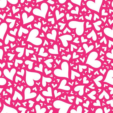 Valentine nahtlose stilvolle rosa Muster mit Herzen. Vektor-Illustration.