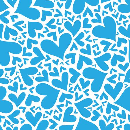 corazones azules: Patrón transparente con corazones azules. Mano de fondo dibujado. fondo ilustrado plantilla para tarjeta de diseño, textiles