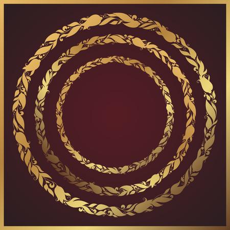 felicitaciones cumplea�os: mano estilizada dibujado corona con flores. Marco floral redondo para el texto. Una imagen de un conjunto de elementos de dise�o de flor en forma circular.