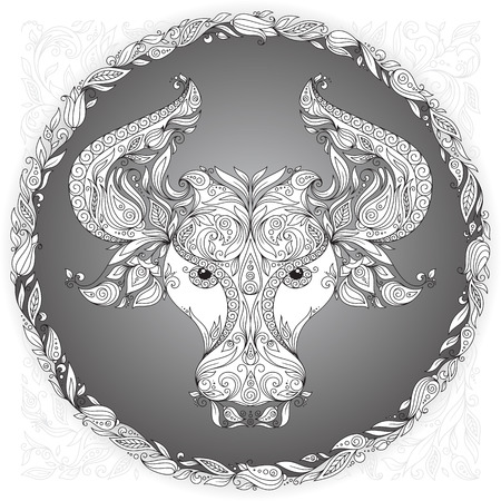 t shirt printing: Zodiac sign Taurus. This illustration can be used as a greeting card or as a print on T-shirts and bags, tattoo art, coloring books. Decorative Henna Mehndi Tattoo Ethnic Zentangle Doodles style.