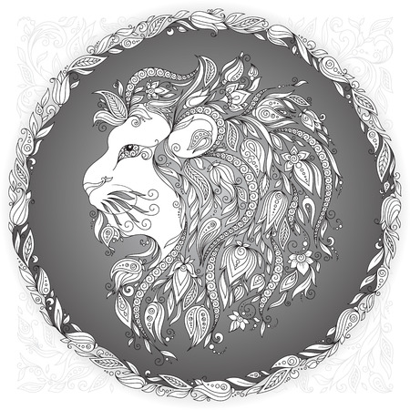 t shirt printing: Zodiac sign Leo. This illustration can be used as a greeting card or as a print on T-shirts and bags, tattoo art, coloring books.