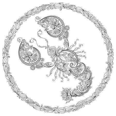 Pattern for coloring book. Hand drawn line flowers art of zodiac Cancer. Horoscope symbol for your use. For tattoo art, coloring books set. 矢量图像