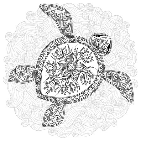 hand print: Pattern for coloring book. Coloring book pages for kids and adults. Decorative graphic turtle. Henna Mehndi Tattoo Style Doodles Illustration