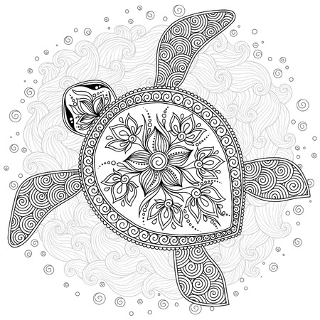Pattern for coloring book. Coloring book pages for kids and adults. Decorative graphic turtle. Henna Mehndi Tattoo Style Doodles Stock Illustratie