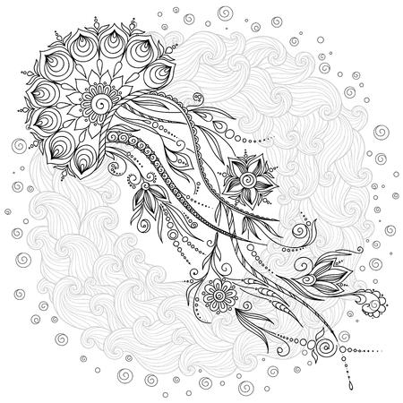 Patroon voor kleurboek. Kleurboek pagina's voor kinderen en volwassenen. Abstracte grafische illustratie van de kwallen in vector. Henna Tattoo Mehndi Style Doodles