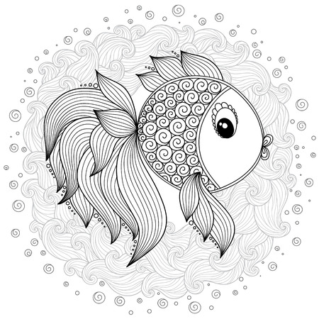 Pattern for coloring book. Coloring book pages for kids and adults.Vector Cute Cartoon Fish. Henna Mehndi Tattoo Style Doodles Illustration