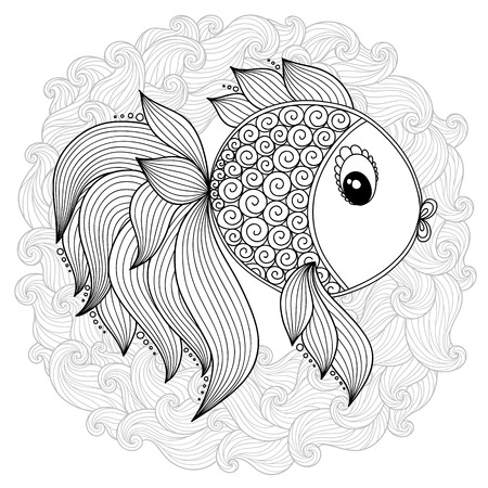 Pattern for coloring book. Coloring book pages for kids and adults.Vector Cute Cartoon Fish. Henna Mehndi Tattoo Style Doodles 矢量图像